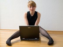 Blondy with laptop Royalty Free Stock Photo