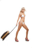 Blondy with suitcase Stock Images