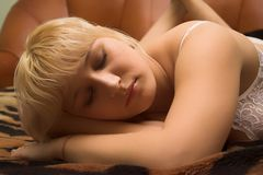 Blondy young girl  sleeping Royalty Free Stock Photos