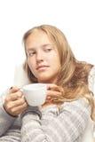 blondynów filiżanki dziewczyny biel potomstwa Zdjęcia Stock