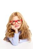 Blondynów mody dzieciaka dziewczyna z szkieł portretem Obraz Stock