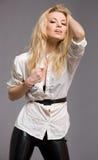 blondynów mody grey modela portreta potomstwa Zdjęcia Royalty Free