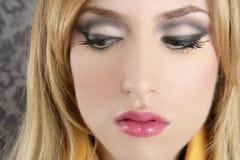 blondynów szczegółu mody makeup portreta retro kobieta Zdjęcie Stock