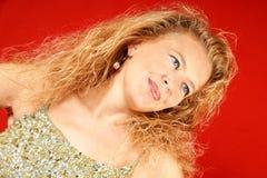 blondynów zielonych cekinów odgórna kobieta Obrazy Stock