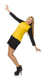 Blondyn dziewczyna w żółtej i czarnej odzieży Obrazy Royalty Free