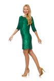 Blondyn dziewczyna w lśnienie zieleni sukni odizolowywającej Obrazy Royalty Free