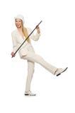 Blondyn dziewczyna z chodzącym kijem odizolowywającym dalej Zdjęcia Royalty Free