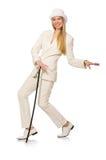 Blondyn dziewczyna z chodzącym kijem odizolowywającym dalej Zdjęcie Stock