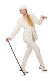 Blondyn dziewczyna z chodzącym kijem odizolowywającym dalej Fotografia Royalty Free