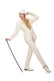 Blondyn dziewczyna z chodzącym kijem odizolowywającym dalej Obraz Stock