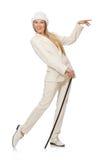 Blondyn dziewczyna z chodzącym kijem odizolowywającym dalej Zdjęcia Stock