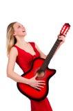 Blondyn kobieta z gitarą odizolowywającą na bielu Fotografia Stock