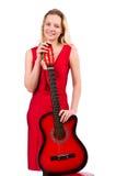Blondyn kobieta z gitarą odizolowywającą na bielu Zdjęcie Royalty Free