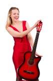 Blondyn kobieta z gitarą odizolowywającą na bielu Obraz Royalty Free