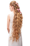 Kobieta z Kędzierzawy Długie Włosy Zdjęcie Stock