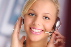 blondyn słuchawki operatora young sexy Obraz Royalty Free
