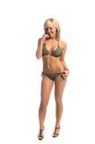 blondyn upiększająca bikini green Zdjęcie Royalty Free