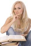 blondynek piękne książki czytają Obrazy Royalty Free