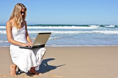 blondynka biznes jej laptopu kobiety pracujący potomstwa Zdjęcie Stock