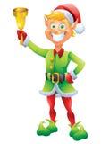 Blondynka elf dzwoni dzwon z bożymi narodzeniami Zdjęcie Royalty Free