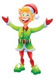 Blondynka elfa Bożenarodzeniowy powitanie z otwartymi wita rękami royalty ilustracja