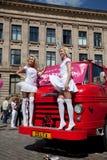 blondynka idzie parada Riga Obraz Stock