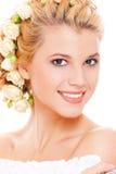 blondynka piękny włosy biały jej róże zdjęcie royalty free