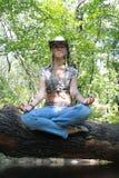 blondynka plciowa siedzi drzewnego drewno zdjęcie stock
