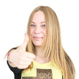 Blondynka pokazuje dużego palec u nogi Zdjęcia Royalty Free