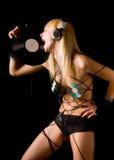 blondynka szalony dj Fotografia Royalty Free