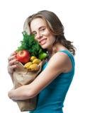 blondynka trzyma torbę z warzywami i ziele Zdjęcia Royalty Free