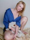 Blondynka w błękicie Zdjęcia Stock