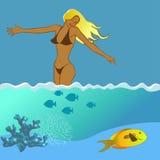 Dziewczyna i morze Obraz Stock