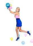 Blondynka z balonami Obrazy Royalty Free