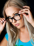Blondynka z szkłami Fotografia Royalty Free