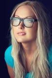 Blondynka z szkłami Fotografia Stock