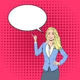 Blondynki Biznesowej kobiety punktu palec gadka bąbla wystrzału sztuki Kolorowy Retro styl Obrazy Stock