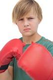 Blondynki chłopiec z bokserskimi rękawiczkami Obraz Royalty Free