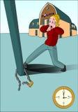 Blondynki dama odkrywa rower kraść 3 godziny ilustracja wektor