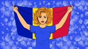 blondynki dziewczyna trzyma flagę państowową Andorra royalty ilustracja