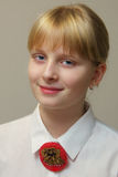 Blondynki dziewczyna w białej koszula Obrazy Royalty Free
