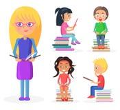 Blondynki dziewczyny chwyty Rezerwują Długiego, czytanie dzieciaki ilustracja wektor
