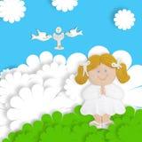 Blondynki dziewczyny communion pierwszy karta Fotografia Royalty Free