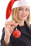 blondynki dziewczyny mienia ornament Santa Fotografia Royalty Free