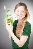 blondynki dziewczyny tulipany młodzi Obraz Royalty Free
