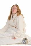 Blondynki kobieta budzi się up w ranku Obraz Royalty Free