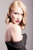 Blondynki kobieta wyczulony portret Fotografia Royalty Free