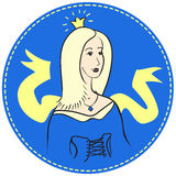 Blondynki kobieta z koroną na jej głowie zdjęcie stock