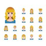 Blondynki kobieta z różnorodnymi fryzurami Obraz Royalty Free