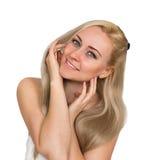 Blondynki kobieta - zdrój odizolowywający zdjęcie royalty free